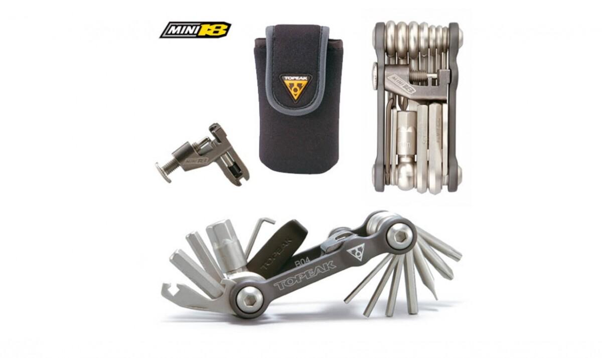 La multi-herramienta Topeak mini 18 con funda, fácil de llevar en tus recorridos.