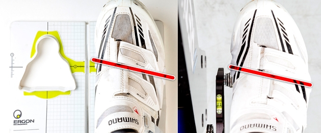 El nuevo eje de ubicación de la cala con respecto al eje del pie sufre una leve modificación diagonal. Imagen: ciclismoafondo