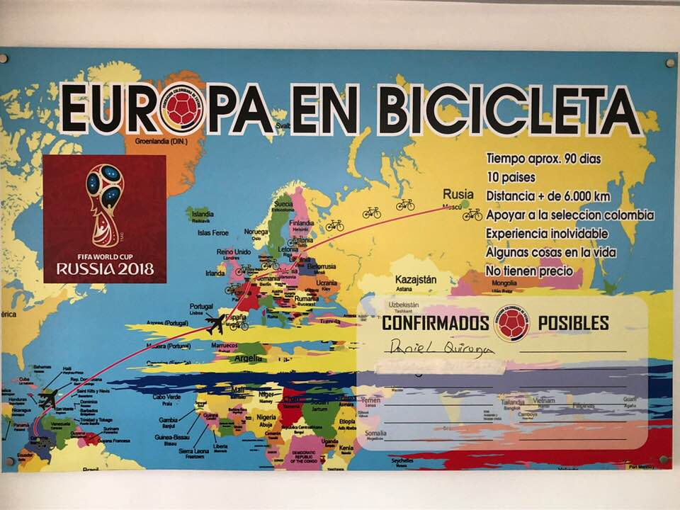 Daniel Quiroga llegó en bicicleta a Rusia