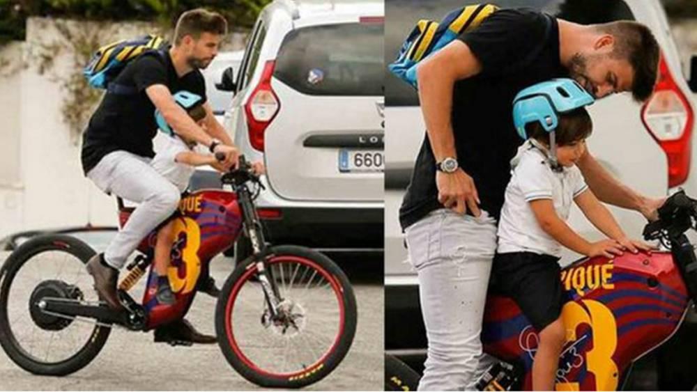 El deportista va al colegio por su hijo en bicicleta
