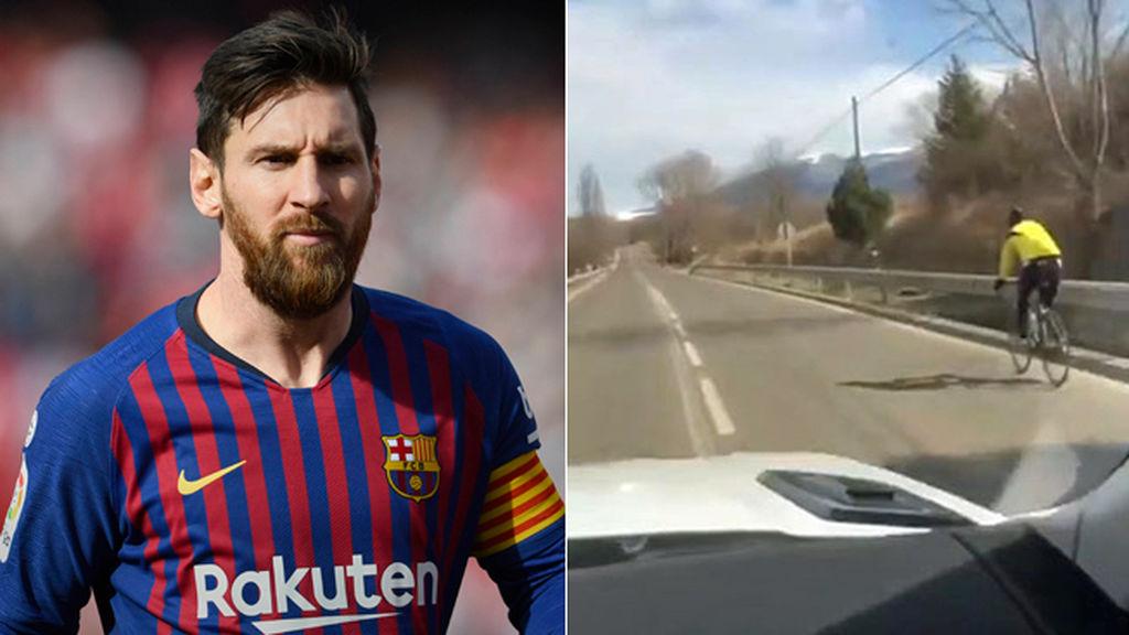 El argentino Messi respeta las normas de tránsito al adelantar bien a un ciclista