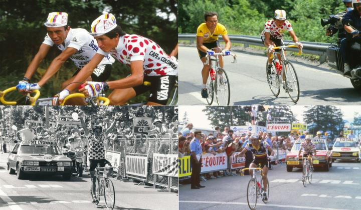 Dos colombianos brillando en la etapa del Tour del 85