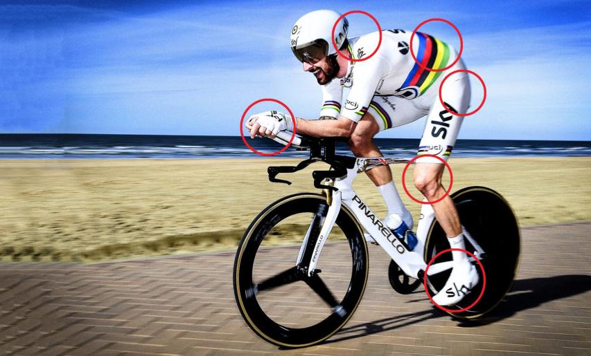 Zonas de dolor localizado por ajuste de la bicicleta