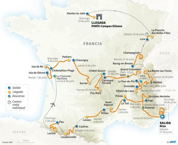 Mapa del recorrido del Tour
