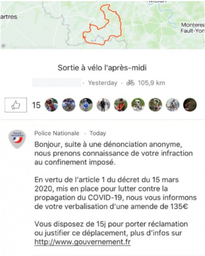 Strava castiga a los ciclistas que violen la medida