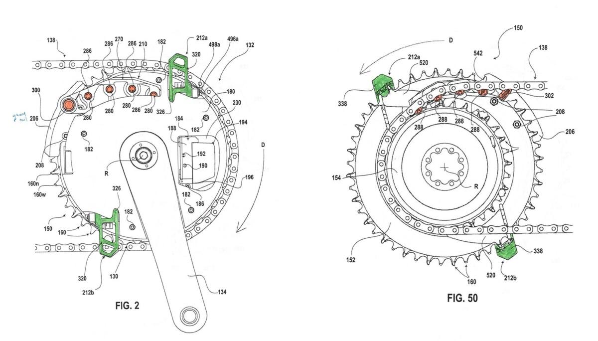 SRAM patentó doble plato con desviador integrado