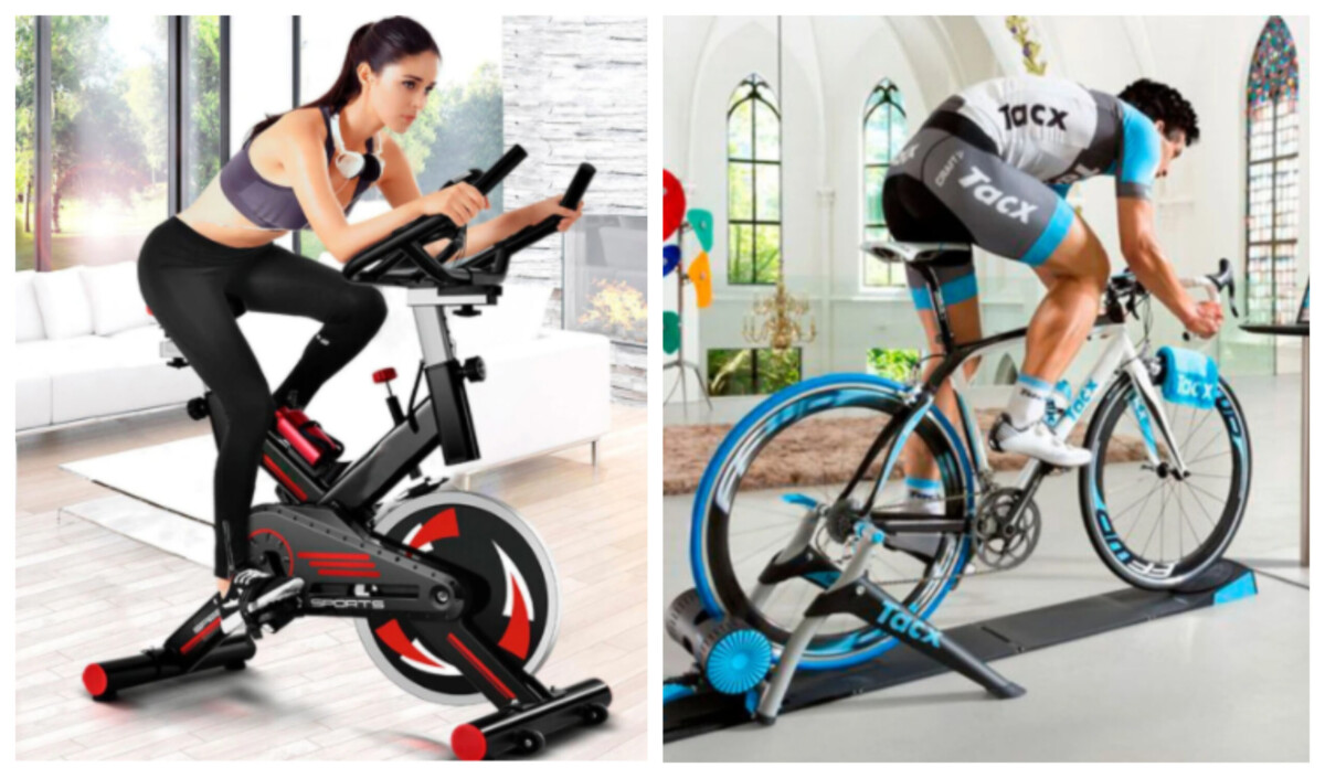 Bicicleta estática o con rodillo, ¿cuál es la mejor opción para entrenar en casa?