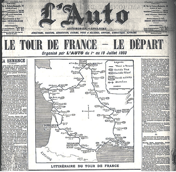 La portada de L'Auto anunciando el inicio del Tour