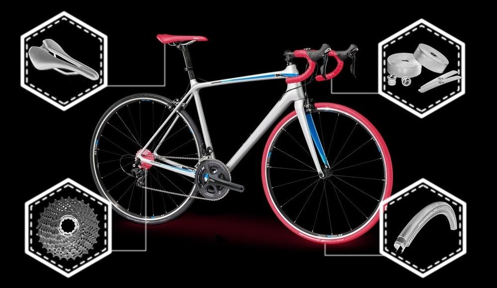Guía básica con el nombre de todas las partes que componen la bicicleta de ruta