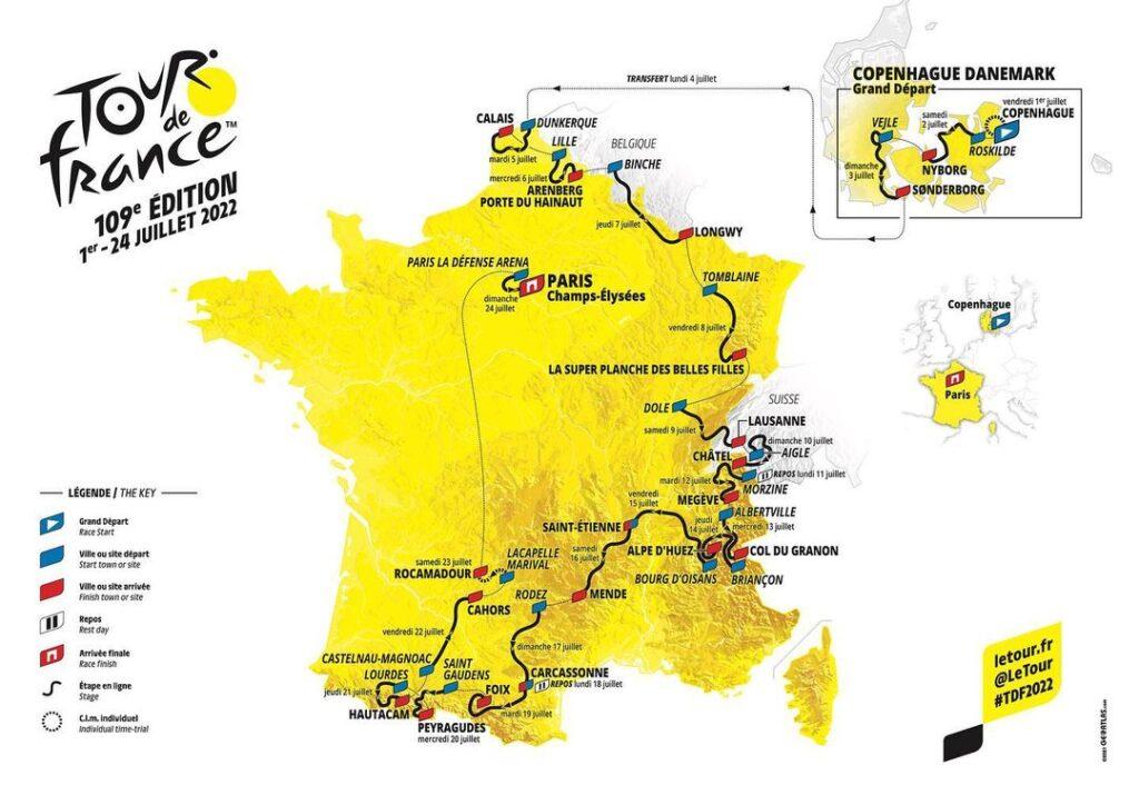 Así será el recorrido del Tour de Francia 2022
